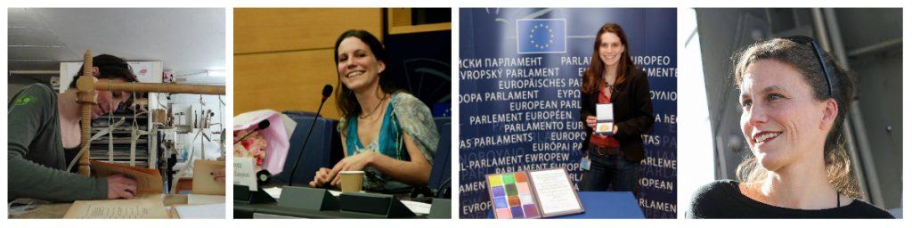 Cécile Coyez - Artisan Relieur De gauche à droite : couture artisanale de livres, expériences passées au Parlement européen