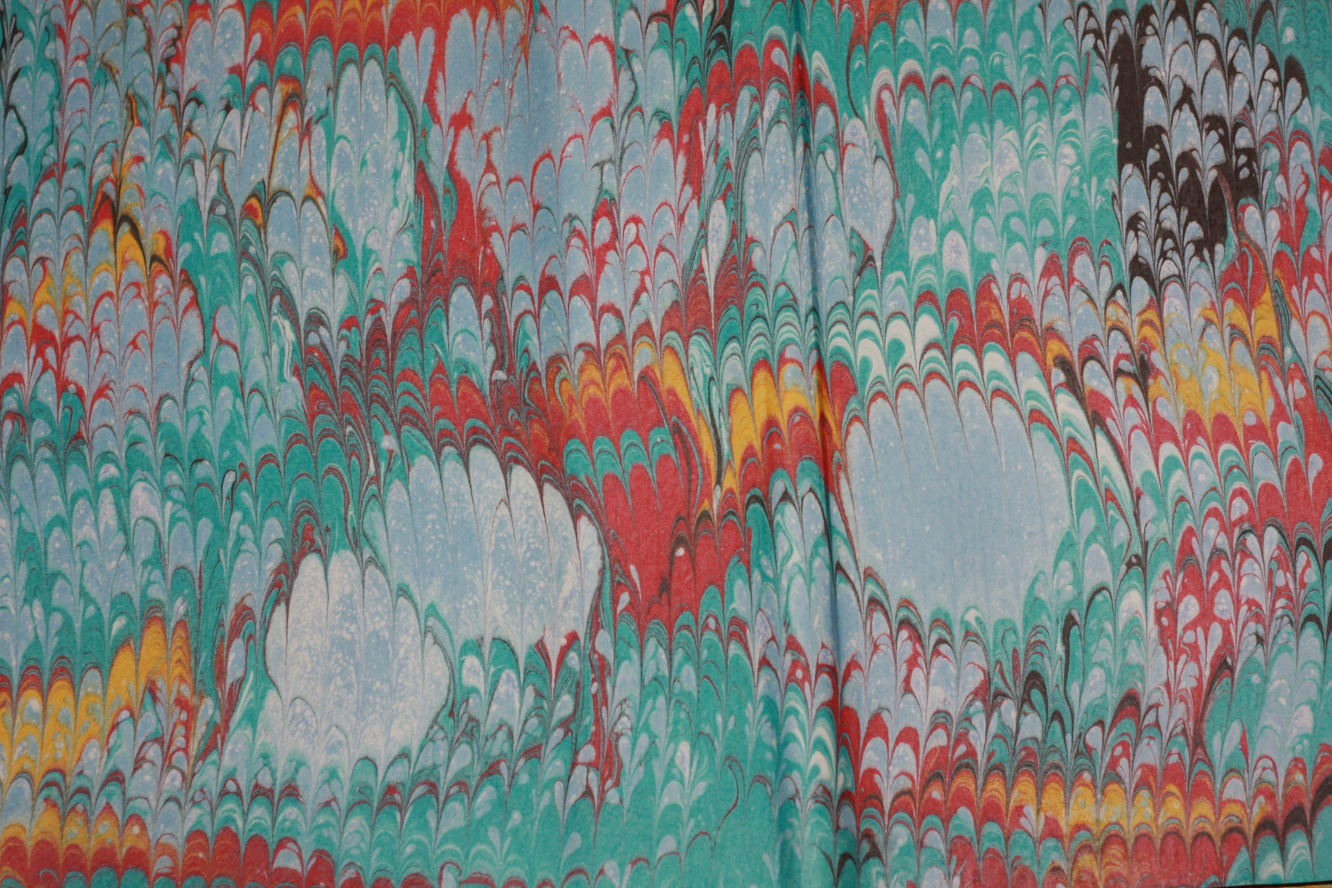Papier marbré à la cuve - Petit Peigné - Bleu turquoise & rouge