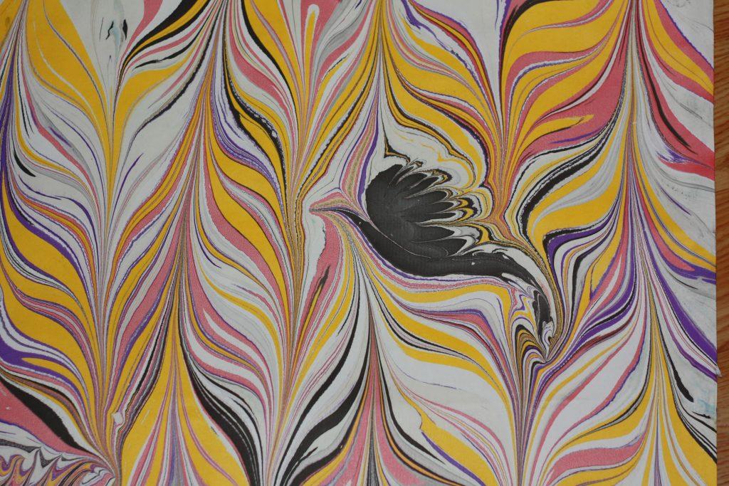 ebru style - Marbré Jaune Rose Oiseau