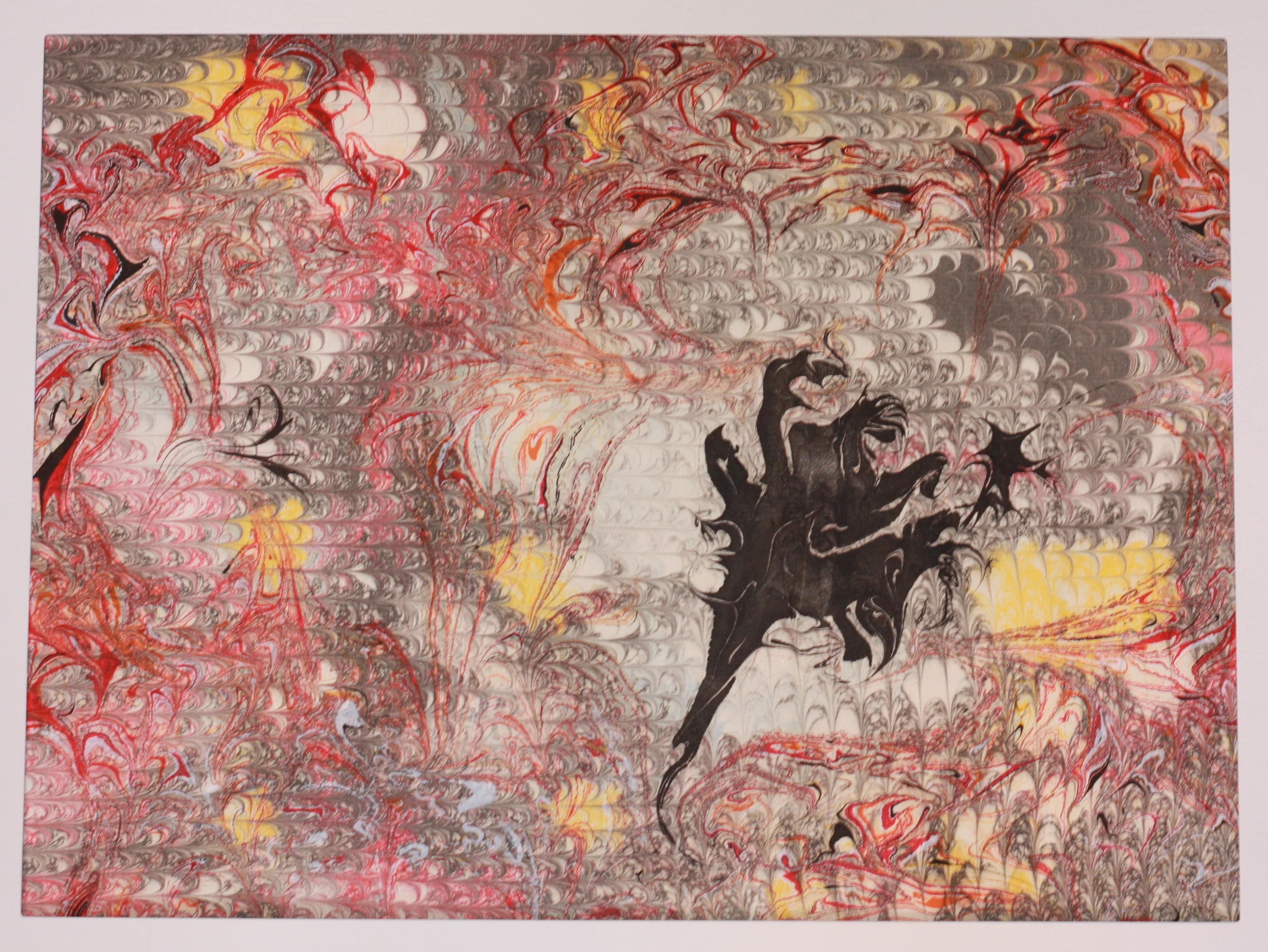 Double passage - Papier marbré rouge - motif dragon ebru - C Coyez
