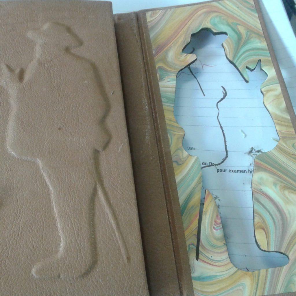 Couverture cuir / contreplat en papier marbé à la main