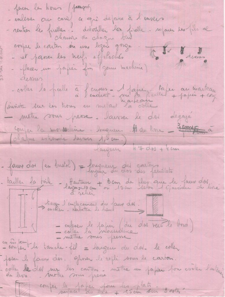 Notes manuscrites de mes grands parents : comment faire une reliure passée