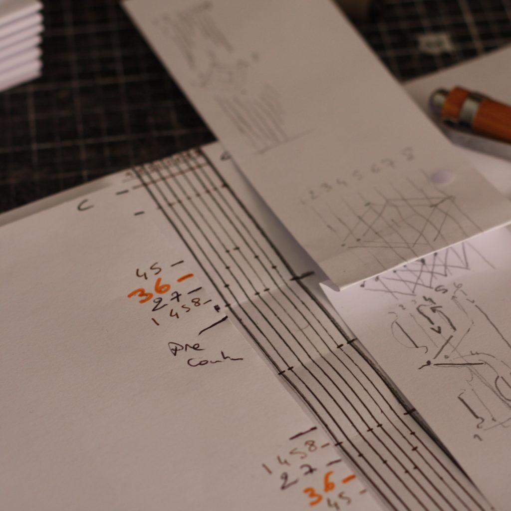 Gabarit Papiers pour préparer couture longstitch à motif géométrique